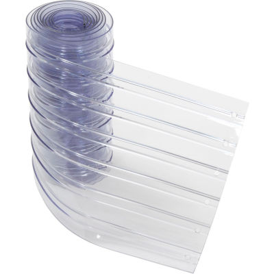 "Replacement 12"" x 10' Scratch Resistant Ribbed Clear Strip for Strip Curtains"
