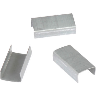 """Pac Strapping Regular Duty Snap On Steel Strapping Seals, 3/4"""" Strap Width, Silver, Pack of 2500"""