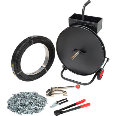 """Global Industrial™ Steel Strapping Kit 1/2"""" x 2,940' Coil With Tensioner, Sealer, Seals & Cart"""
