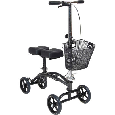 "Drive Medical Dual Pad Steerable Knee Walker with Basket, 31""- 40"" Handle Height, Adult Size"