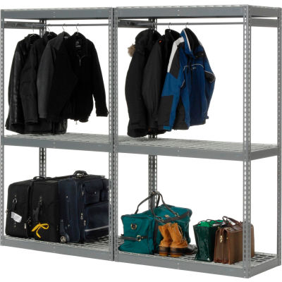 """Global Industrial™ Boltless Luggage Garment Double Rack - 96""""W x 24""""D x 84""""H"""