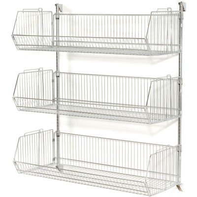 "Wall Mount Basket Kit 36""W x 20""D x 12""H (3 Basket) Chrome"