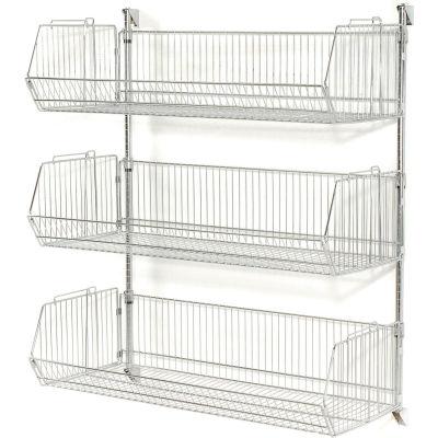 """Wall Mount Basket Kit 36""""W x 20""""D x 9""""H (3 Basket) Chrome"""