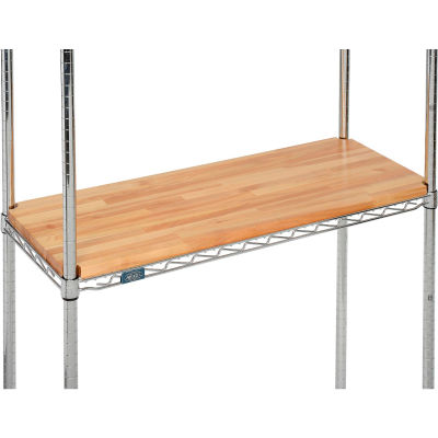 "Hardwood Deck Overlay for Wire Shelving 24""W x 14""D x 1""Thick"