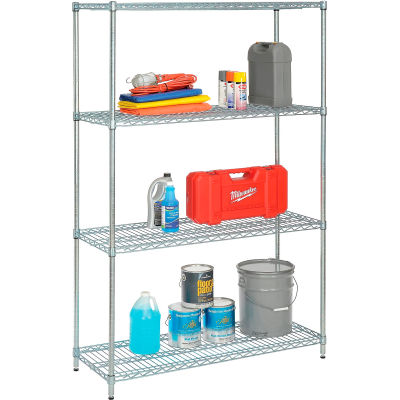 "Nexel® Wire Shelving Unit, 48""W x 24""D x 74""H, Zinc Chromate"
