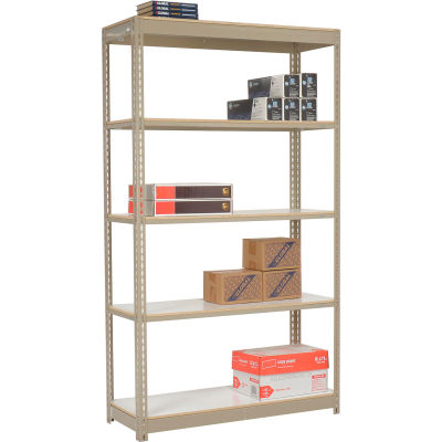 """Global Industrial™ Heavy Duty Tan Shelving 36""""W x 18""""D x 84""""H With 5 Shelves - Laminate Deck"""