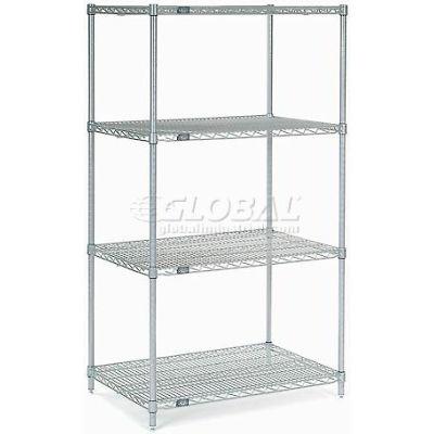 "Nexelate® Silver Epoxy Wire Shelving Starter 60""W x 30""D x 54""H"