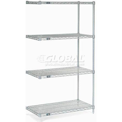 "Nexelate® Silver Epoxy Wire Shelving Add-On 36""W x 30""D x 54""H"