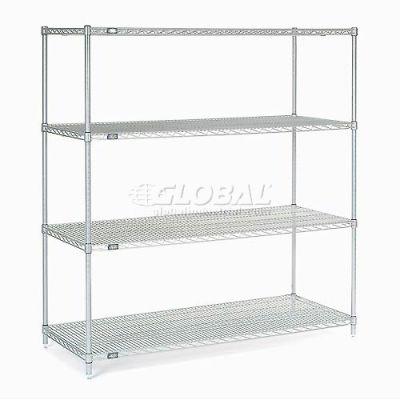 "Nexelate® Silver Epoxy Wire Shelving Starter 60""W x 36""D x 63""H"