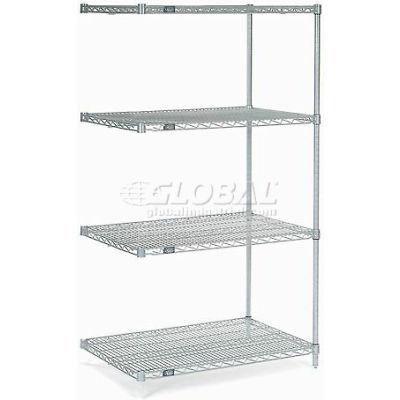 "Nexelate® Silver Epoxy Wire Shelving Add-On 36""W x 30""D x 63""H"