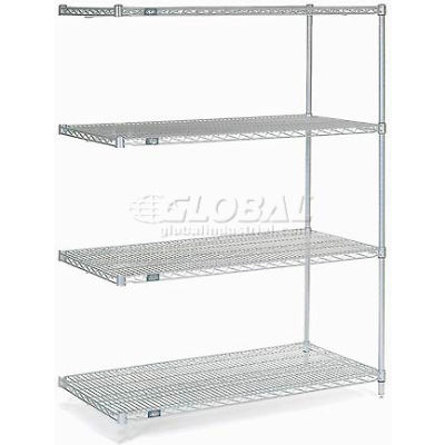 "Nexelate® Silver Epoxy Wire Shelving Add-On 48""W x 30""D x 63""H"