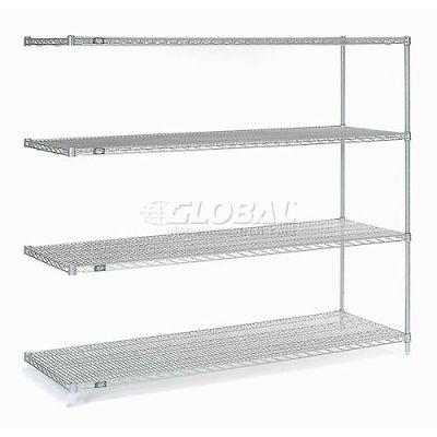 "Nexelate® Silver Epoxy Wire Shelving Add-On 72""W x 30""D x 63""H"