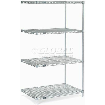 "Nexelate® Silver Epoxy Wire Shelving Add-On 36""W x 36""D x 63""H"