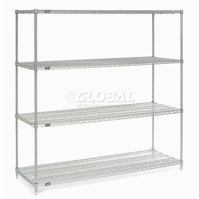 "Nexelate® Silver Epoxy Wire Shelving Starter 72""W x 30""D x 74""H"