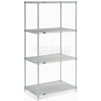 "Nexelate® Silver Epoxy Wire Shelving Starter 36""W x 36""D x 74""H"