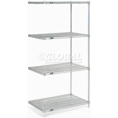 "Nexelate® Silver Epoxy Wire Shelving Add-On 36""W x 30""D x 74""H"