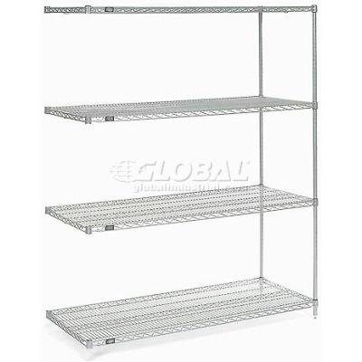 "Nexelate® Silver Epoxy Wire Shelving Add-On 60""W x 30""D x 74""H"