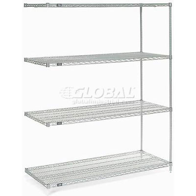 "Nexelate® Silver Epoxy Wire Shelving Add-On 60""W x 36""D x 74""H"
