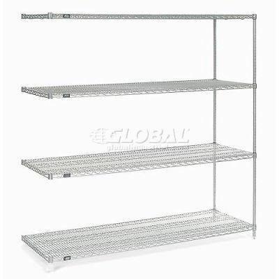 "Nexelate® Silver Epoxy Wire Shelving Add-On 72""W x 36""D x 74""H"