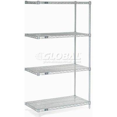 "Nexelate® Silver Epoxy Wire Shelving Add-On 48""W x 30""D x 86""H"