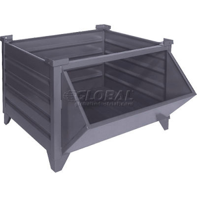 """Topper Stackable Steel Container 51018GYHF Solid, Hopper Front, 42""""L x 30""""W x 24""""H, Gray"""