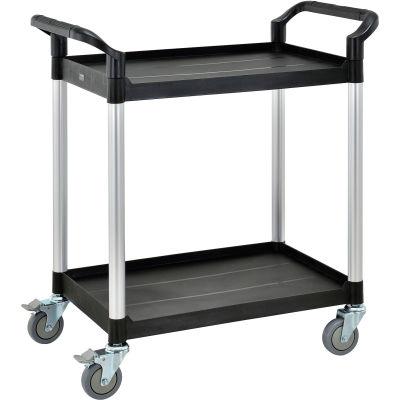 "Global Industrial™ High Capacity Service Cart, Aluminum Posts, 2 Shelf, 26""Lx17""W, Black"