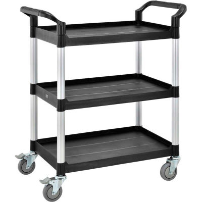"Global Industrial™ High Capacity Service Cart, Aluminum Posts, 3 Shelf, 26""Lx17""W, Black"