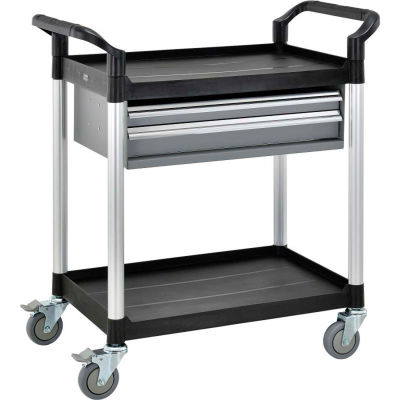 "Global Industrial™ Storage Utility Cart W/Aluminum Posts, 2 Shelves/2 Drawers, 26""Lx17""W"