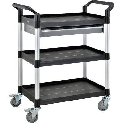 "Global Industrial™ Storage Utility Cart W/Aluminum Posts, 3 Shelves/1 Drawer, 26""Lx17""W"