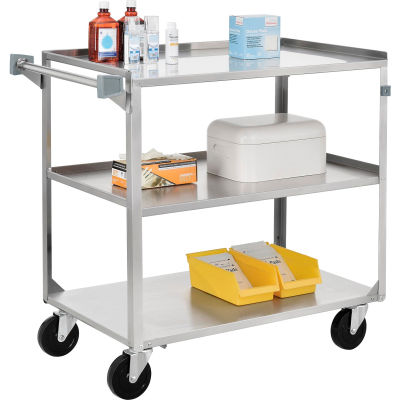 """Global Industrial™ Stainless Steel Utility Cart, 27""""L x 16""""W x 32""""H, 300 Lb. Cap"""
