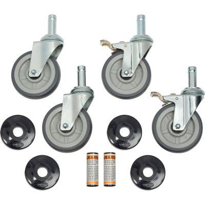Rubber Swivel Stem Set of (4) Casters 5 Inch 2 Brake/ Donut Bumper