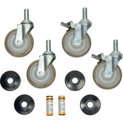 "Nexel Stem Caster Set (4)5""X1-1/4""Gray Polyurethane W/ Plastic Brake Plate"