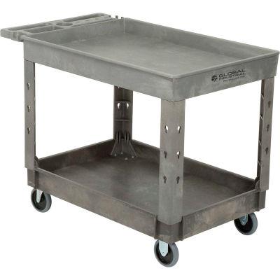 "Global Industrial™ Tray Top Plastic Utility Cart, 2 Shelf, 44""Lx25-1/2""W, 5"" Casters, Gray"