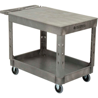"Global Industrial™ Flat Top Plastic Utility Cart, 2 Shelf, 44""Lx25-1/2""W, 5"" Casters, Gray"