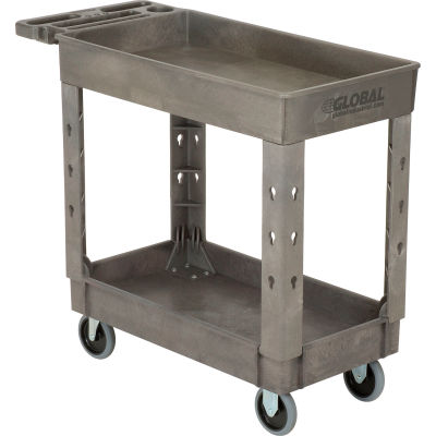 """Global Industrial™ Extra Strength Plastic 2 Shelf Tray Service Cart 38x17-1/2 5"""" Casters"""