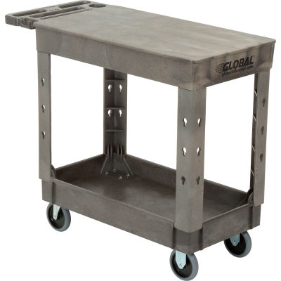 "Global Industrial™ Extra Strength Plastic 2 Flat Shelf Service Cart 38x17-1/2 5"" Casters"