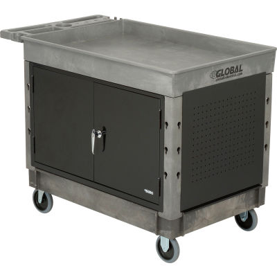 "Global Industrial™ Extra Strength Plastic 2-Tray Maintenance Cart W/ 5"" Casters, 44 x 25-1/2"""