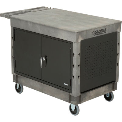 "Global Industrial™ Extra Strength Plastic Mobile Work Center Flat Top 44x25-1/2 Gray 5"" Casters"