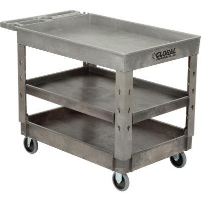 "Global Industrial™ Tray Top Plastic Utility Cart, 3 Shelf, 44""Lx25-1/2""W, 5"" Casters, Gray"