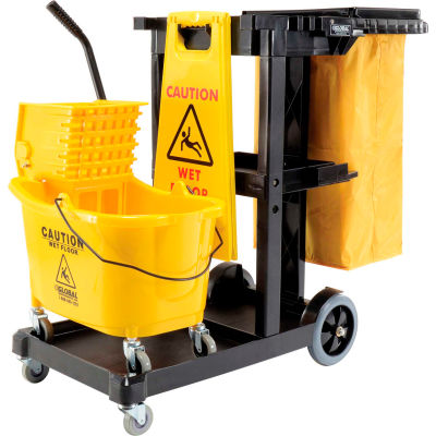 Global Industrial™ Janitor Cart Black with Mop Bucket and Wet Floor Sign