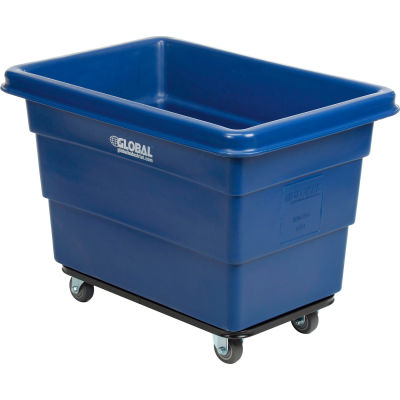 Global Industrial™ Plastic Bulk Box Truck, 6 Bushel, Steel Chassis Base, Blue