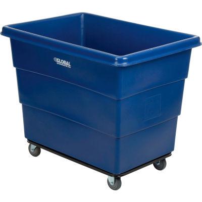 Global Industrial™ Plastic Bulk Box Truck, 16 Bushel, Steel Chassis Base, Blue