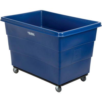 Global Industrial™ Plastic Bulk Box Truck, 20 Bushel, Steel chassis Base, Blue