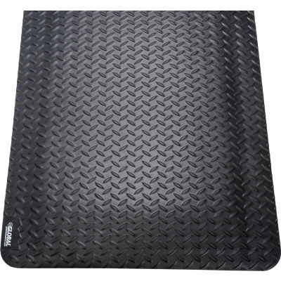 "Global Industrial™ Diamond Plate Ergonomic Mat 15/16"" Thick 3' x 5' Black"