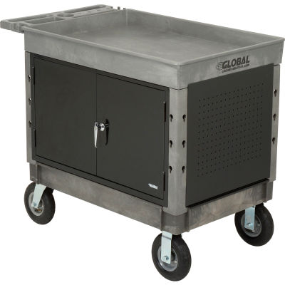 "Global Industrial™ Extra Strength Plastic 2 Tray Shelf Maintenance Cart 44x25-1/2 8"" Wheels"