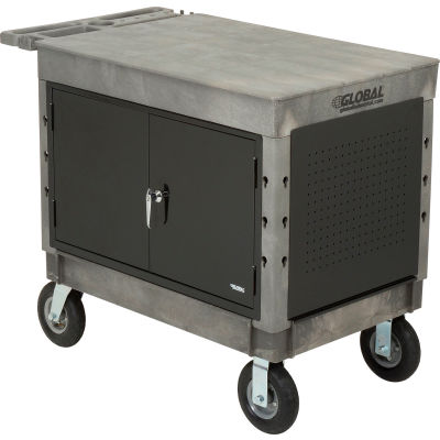 """Global Industrial™ Extra Strength Plastic Mobile Work Center Flat Top 44x25-1/2 Black 8"""" Caster"""