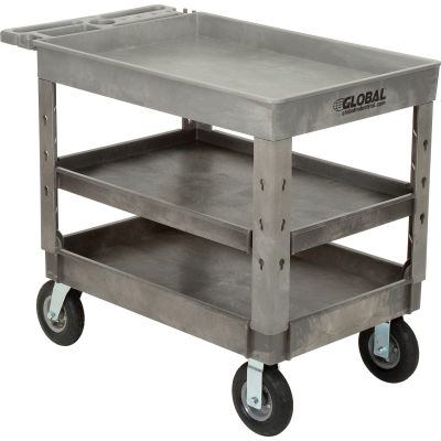 "Global Industrial™ Extra Strength Plastic 3 Tray Shelf Service Cart 44x25-1/2 8"" wheels"
