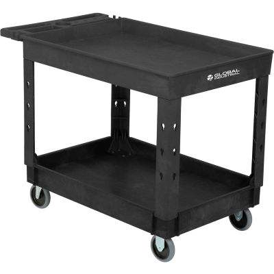 "Global Industrial™ Tray Top Plastic Utility Cart, 2 Shelf, 44""Lx25-1/2""W, 5"" Casters, Black"