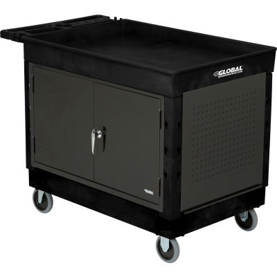 """Global Industrial™ Extra Strength Mobile Work Center w/ Tray Top & 5"""" Casters, Black"""