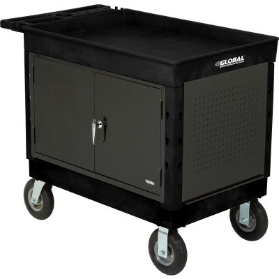 """Global Industrial™ Extra Strength Plastic Mobile Work Center Tray Top 44x25-1/2 Black 8"""" Caster"""